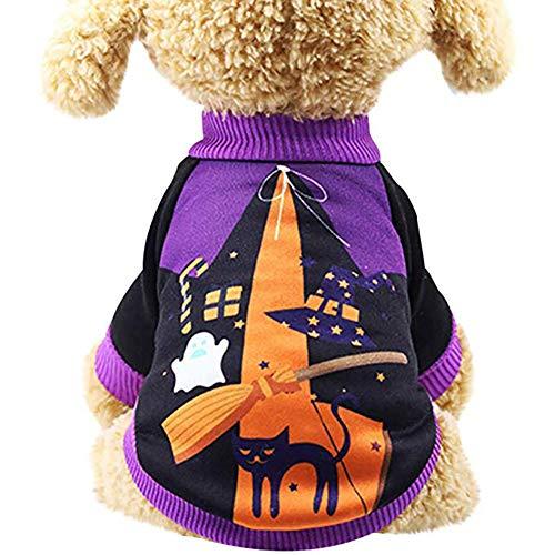 ENticerowts Halloween-Sweatshirts für Hunde, weich, für Halloween, Orange, 2#, M (Krähe Kostüm Für Hunde)