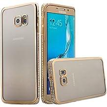 iCues Samsung Galaxy S6 EDGE PLUS Aurora Cover - Funda Carcasa Cristalina de TPU Transparente Transición Diamante Brillante Cover Goma Ultrafino Protectora - Oro
