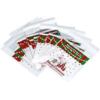 Doitsa 100x Bolsa de Galletas Adhesivo Feliz Navidad Galletas Caramelos Candy Popcorn Bag de Opp Plástico