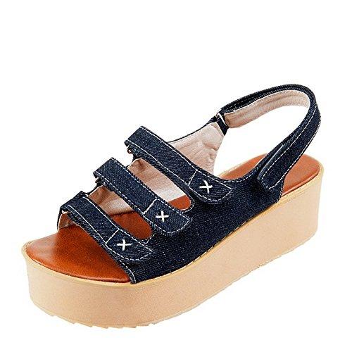 VogueZone009 Donna Puro Imitato Pelle Di Maiale Tacco Medio Velcro Punta Aperta Sandali Blu scuro