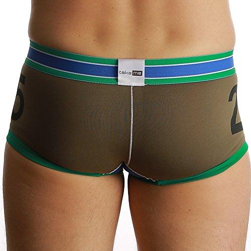take me | Boxer Shorts | Retro Short |trendig viele Styles | weich und hautfreundlich | Halt und formgebend für den Penis | Klimafunktion | Die Wäschemarke für Ihn und sein Bestes Stück. dunkel grün C0921
