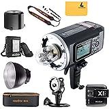 Godox AD600B Flash TTL Bowens Mount Puissant Extérieur Portable GN87 600W HSS 1/8000s TTL 2,4G Sans Fil avec 8700mAh Lithium PowerPack Intégré, X1T-C Flash Déclencheur Transmetteur Emetteur Sans Fil à Distance, AD-H600B Flash Tête Extensible, PB-600 Sac Sacoche, CB-09 Sac de Transport pour Canon EOS Caméra DSLR + Letwing Digital Caméra Sangle Bandoulière