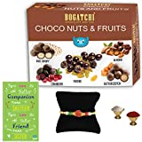 BOGATCHI Complete Rakhi Gift Hamper For Brother, Dark Chocolate Coated Assorted Dry Fruits And Nuts, 200g + Free...
