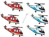 6 Folienballon mit Haltestab Hubschrauber Helicopter Junge Luftballon Kindergeburtstag Folienballon Set