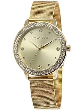 Taylor Cole Damen Armbanduhr XL Quarzuhr Golden Edelstahl Milanaiseband TC072