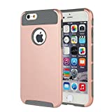 MTRONX iPhone 6s Case, iPhone 6 Case, trade; Shockproof Heavy Duty Durable Hybrid Hard Soft TPU Case Cover Bumper For Apple iPhone 6, iPhone 6s - Rose Gold/Grey(HC-RGGY)