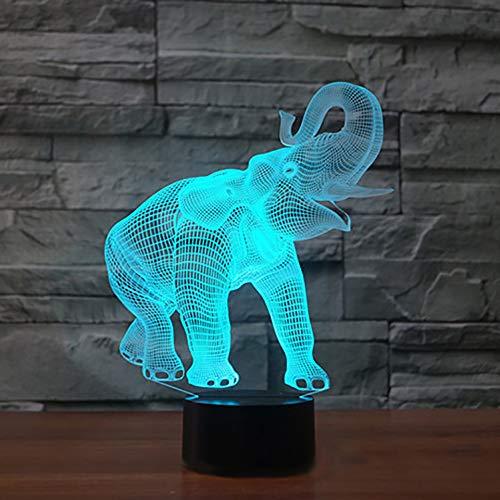 Nueva 3d elefante 7cambio de color LED lámpara de mesa luz de...