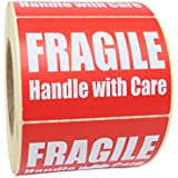 Fragile Warning Stickers/Labels: White on Red 101.6x74.6mm 1000/Pack