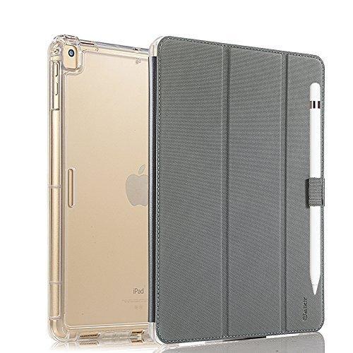 Vanctec für iPad Pro 12.9 Hülle, iPad Pro 12.9 Case, Apple Neu iPad Pro 12.9 Zoll 2017 Cover Smart Folio Stand Schützend Schwerlast Robuste Schlag Rüstung Hülle mit Apple Bleistift Halter, S-Grau