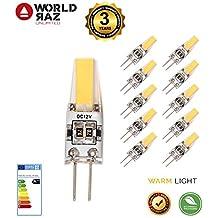 Bombillas led G4 2W 12V. Bombilla G 4 luz cálida 3000K WORLD RAZ. Lámpara equivalente a 20W halógena. Pack de 10 unidades 3 AÑOS DE GARANTIA Calidad Premium