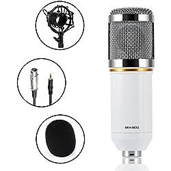 Micrófono condensador, ABASK BM-800 Sonido Profesional Estudio de grabación de Difusión micrófono fijado para el estudio de sonido Estudios de grabación estaciones de radiodifusión Escenario actuaciones y Computadoras (blanco)