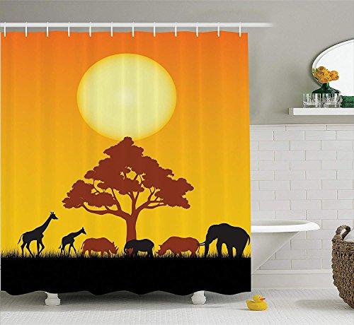 Safari Decor Shower Curtain Set, Silhouette of Rhinos Elephants Zebras Grassland and A Tree with Sun The Back, Bathroom Accessories, 66x72 inches, Orange Chocolate Black 66 Chocolate Mold
