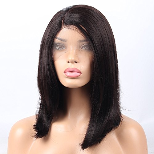 vvBing Side Part Wig Cap Short Shoulder Length Hair Yaki Straight Dark Brown Bob Wigs Lace Front Synthetic Bob Cut Hair Lace Front Wigs For Women Heat Resistant Fiber Hair 16Inch