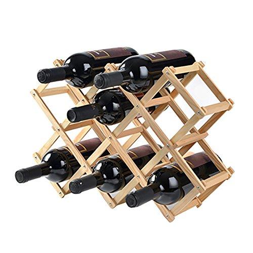 MGMDIAN Estante del Vino Soporte de exhibición de Madera sólida Estante de la Botella de Vino del...