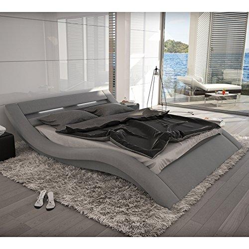 Innocent Polsterbett grau aus Alcantara Stoff mit LED-Beleuchtung Look 180 x 200 cm