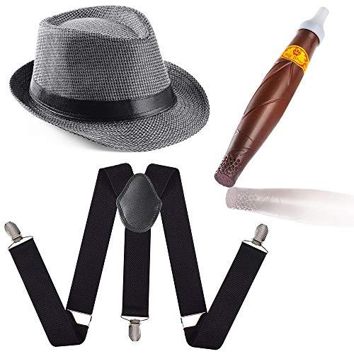 Beelittle 1920 Mens Accessory Set Manhattan Hut, Y-Rücken Hosenträger, Gangster Krawatte, Spielzeug gefälschte Puff Cigar - Fake-krawatte