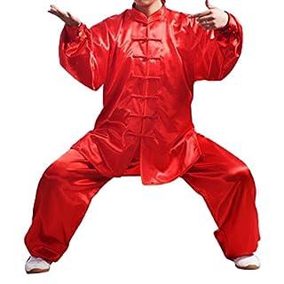 Andux Kampfsport Tai Chi Anzug Kung Fu Uniformen Unisex SS-TJF01 (rot, M)