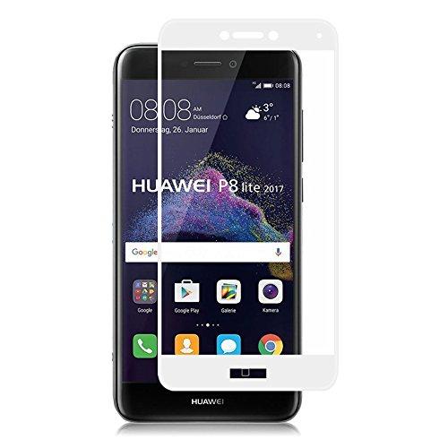 Preisvergleich Produktbild (2 Pack)Huawei P8 lite 2017 Panzerglas - EUGO Full Coverage 9H Gehärtetem Glas Schutzfolie Displayschutzfolie Panzerglas für Huawei P8 lite 2017 - Weiß