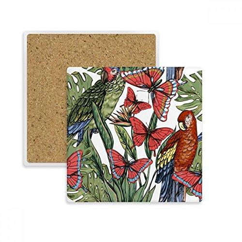 Flower Plant Leaf weiß Bird Butterfly Square Untersetzer Tasse Halter saugfähig Stein für Getränke 2Geschenk - Square Schmetterling Blatt