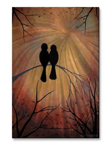 Metal Wall Art usa Made Artwork uccello scultura da parete 'Sunset Lovebirds