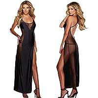 FANGHAO Sexy grandi dimensioni delle donne Chiffon Babydoll da notte lungo abito della biancheria con la cinghia , black , xxxl