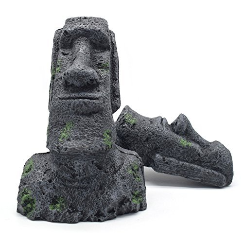 OMEM Reptile Terrarium Tank Aquarium Dekoration Osterinsel Moai Monolith Skulptur Kunstharz hergestellt