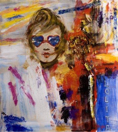 Digitaldruck / Poster Madjid - Lolita - 110 x 123.2cm - Premiumqualität - Modern, junges Mädchen, Sonnenbrille, Herzchenbrille, Abstrakte Malerei, Fig.. - MADE IN GERMANY - ART-GALERIE-SHOPde