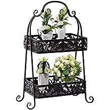 Estantería Metálica Decorativa tipo Soporte para Macetas y Plantas de Diseño Tradicional Color Negro Lacado