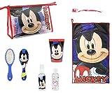 Set Igiene Scuola Viaggio TOPOLINO Mickey Mouse Beauty Case bambino da Viaggio SPAZZOLA, BICCHIERE, SPAZZOLINO DENTI, ASCIUGAMANO Kit Igiene personale bambino Bambina Disney