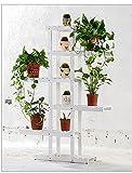 Solid wood flower rack Massivholz Blumenständer grün Rettich Multi - Boden Blumenständer Bonsai Holz Blumenständer Balkon Wohnzimmer Interieur (Farbe : Weiß, größe : 62 * 26 * 130cm)