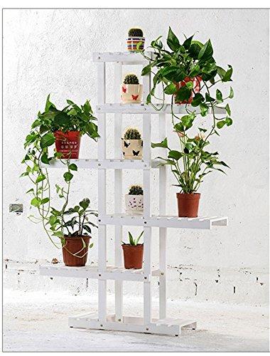 Solid wood flower rack Massivholz Blumenständer grün Rettich Multi - Boden Blumenständer Bonsai Holz Blumenständer Balkon Wohnzimmer Interieur (Farbe : Weiß, größe : 62 * 26 * 130cm) -