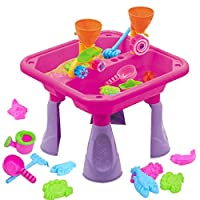 Kids Large Sand and Water Table Garden Sandpit Play Set Toy Watering Can with Accessories