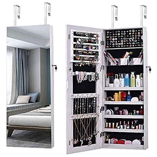 Specchio portagioie,aoou armadio portagioie,armadietto portagioie,schermo intero,grande specchio,armadio specchio,specchio a figura intera,grande capacità,armadio gioielli da parete(bianco)