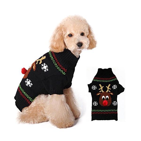 Dog Christmas Sweater.Pet Dog Christmas Sweater Puppy Cat Winter Clothes Reindeer Jumper Coat Apparel