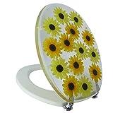 Toilettendeckel Deckel Wc-Sitz Toilettensitz Antibakteriell Sonnenblumen Blumenmuster