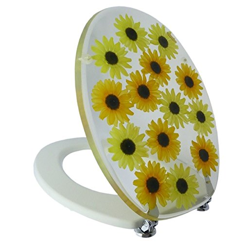 Öko-kern (Toilettendeckel Deckel Wc-Sitz Toilettensitz Antibakteriell Sonnenblumen Blumenmuster)