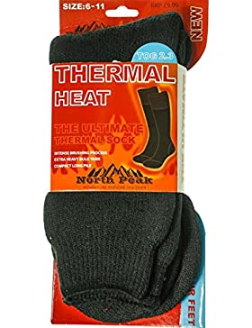 Thermal Heat Socks In Black North Peak Design Size 6-11