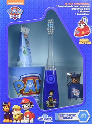 Paw Patrol Set de regalo con cepillo dientes luminoso, pasta dientes aso y cochecito (Pokhara POK1011)
