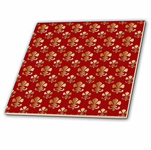 3dRose ct_30759_4 Gold Fleur De Lis Pattern on a Maroon Background Christian Saints Symbol-Ceramic Tile, 12-Inch