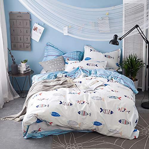 ClothHouse Kleine Fishgeometric Muster Bettbezug Bettwäsche Set 4 Stück, Fall Für Single Double King Size Bett (Weiß),Queen (Queen Bett Set-muster)