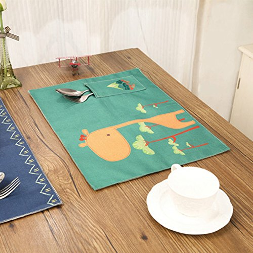 BigFamily Cartoon Tableware Placemats Cotton Table Linen Mats Non Slip Durable Fashion