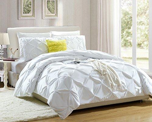 Weißes Bettdeckenbezug-Set mit Kissenhüllen, Superweich Beste Qualität, Microfaser, WHITE HANDMADE, King 230 x 220 CM