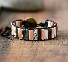 Wild Boho Spring Jasper Cuff Bracelet | Jasper Beaded Bracelet | Natural Stones Cuff Bracelet | Tube Gemstone Bracelet |...