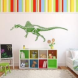 Spinosaurus Esqueleto Silueta dinosaurio Etiqueta de la pared Tatuajes de pared Arte disponible en 5 tamaños y 25 colores X-Large Blanco