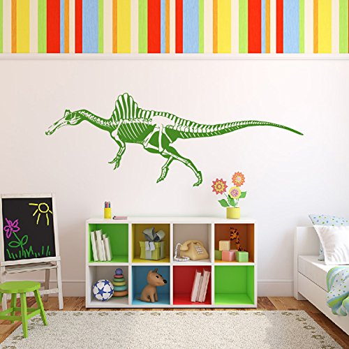 Spinosaurus Esqueleto Silueta dinosaurio Etiqueta de la pared Tatuajes de pared Arte disponible en 5 tamaños y 25 colores X-Large Blanco