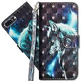 MRSTER iPhone 7 Plus Étui à Rabat 3D Désign Portefeuille Housse [Magnétique] [Fonction Stand] [Porte Carte] PU Cuir Protection Coque pour Apple iPhone 7 Plus / 8 Plus. YX 3D - Wolf