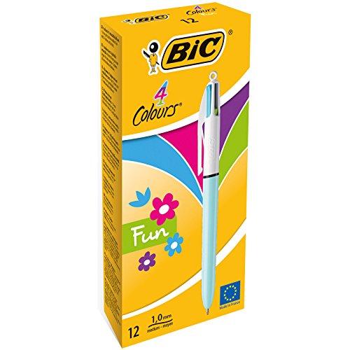 BIC 4-Farb-Druckkugelschreiber 4 Colours Fun - Multifunktionsstift mit pastellfarbenen Minen und dokumentenechter Tinte - Anzahl: 12 Stück (Cooles Design Bic Feuerzeuge)