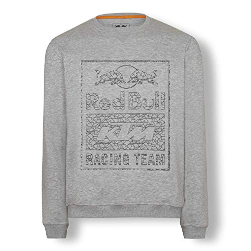 Red Bull KTM Wireframe Crewneck Sweater, Gris Herren X-Large Sweatshirt, KTM Factory Racing Original Bekleidung & Merchandise Cotton Racing Jacket