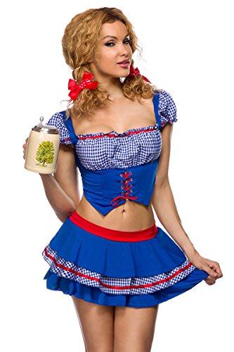 Fasching-Kostüm `Country Girl` mit Oberteil in Westenoptik - Bluseneinsatz mit angesetzten Ärmeln 2-tlg. Set: Oberteil, Rock - A14299, Größe:36/38;Farbe:Blau (Country Girl Fancy Dress Kostüm)
