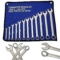 Zoll Maul Ringschlüssel Maul Schlüssel Ring Gabelschlüssel Werkzeug 12 tlg Satz